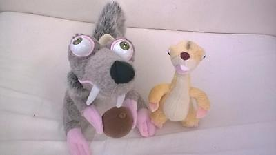 2 x Ice Age Soft Toys Scrat and Syd Soft Toys 20cm/15cm gGG