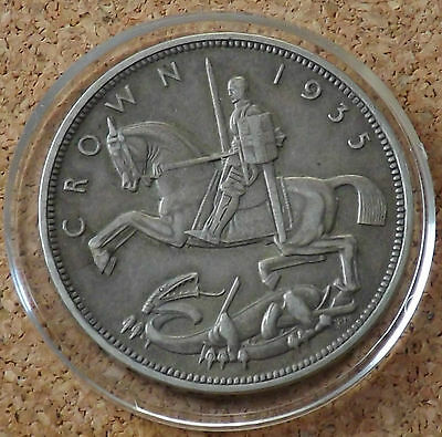 """1935 GEORGE V ROCKING HORSE SILVER CROWN COIN with Capsule """"SUPERB""""FREEPOST"""