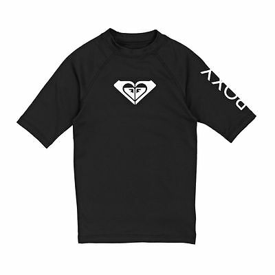 Roxy Rash Vests - Roxy Girls Wholeheart Short Sleeve Rash Vest - Black
