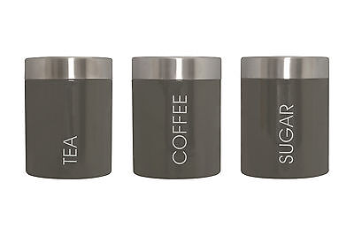 Premier Housewares 3 Grey Storage Canisters Jars Containers Tea Coffee Sugar