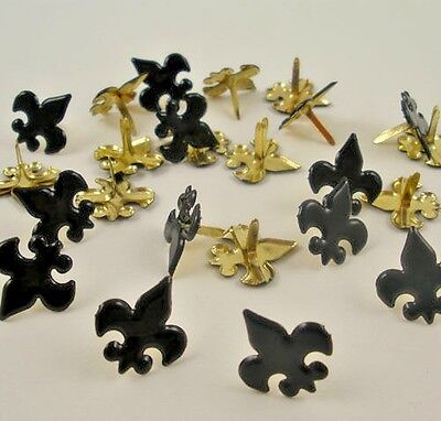 Scrapbooking Brads Fleur de Lis Black Noir 24 pc Cub Boy Scouts Paper Art Crafts