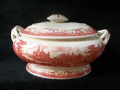 Stunning LARGE Antique Dutch Red Transfer Ware Covered Vegetable Dish - Mint!