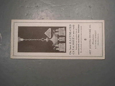 "Art Lighting Fixture Co Blotter Electric Fixtures Catalogue Advertising 4"" X 9"""
