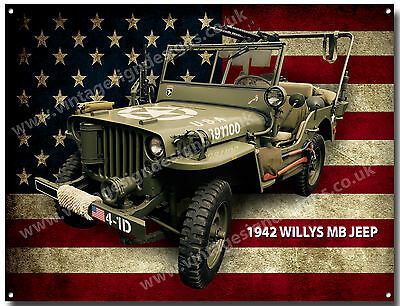 Willys Mb Jeep 1942 Metal Sign(A3)Size.vintage American Army Jeeps,classic Jeeps