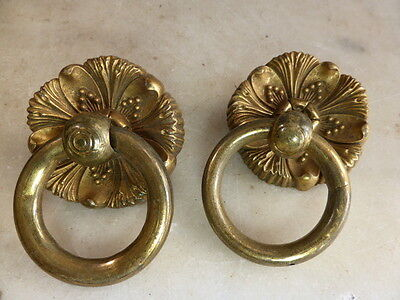 Pair antique brass ornamental decorative mounted ring handles