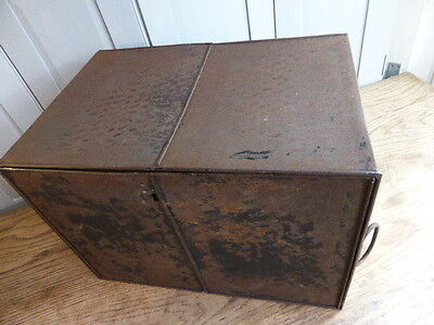 Antique industrial style deed box with partition shelf