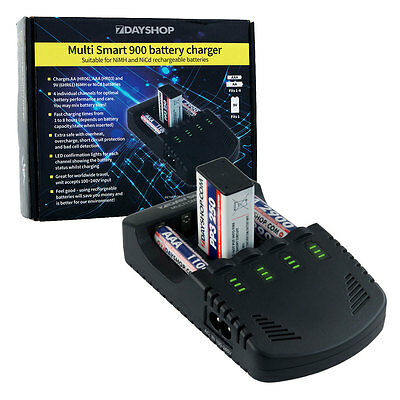 Pro Series Intelligent LED AA AAA and 9V Fast Battery Charger NEW MultiSmart 900
