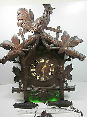 Large Antique Old Black Forest Carved Cuckoo Wall Clock Rare Oozlum Bird Call
