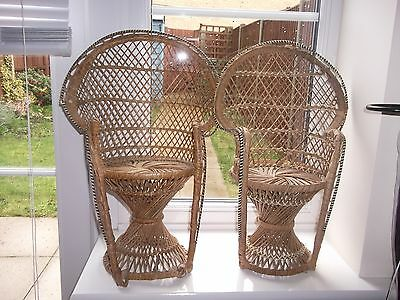 Lovely Vintage Pair Of Wicker/Cane Peacock Dolls/Teddy Chairs