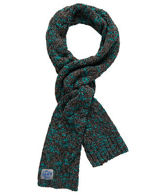 New Womens Superdry Colour Splash Scarf Charcoal Teal Twist