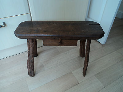 17th/18th Century Oak Country Made Primitive Stool Lamp Table Later Drawer