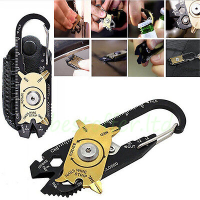 20 in 1 Outdoor Survival Camping  Multi-Tools Carabiner Keychain Bottle Opener