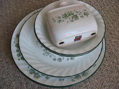 """Corning Corelle CALLAWAY 3 dinner 10 1/4"""", 2 luncheon 9"""", 2 soup/cereal 1 napkin"""