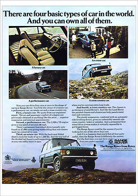 Land Rover Range Rover Retro A3 Poster Print From Classic Advert