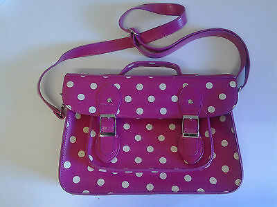 Pink with white spots Satchel (Polka) Faux Leather