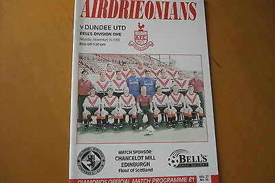 Airdrieonians (Airdrie) V Dundee United                                 25/11/95