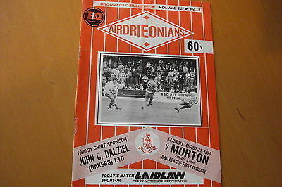 Airdrieonians (Airdrie) V Morton                                         25/8/90