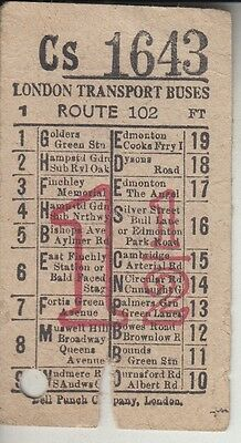 Original Early London Transport 1 1/2D Bus Ticket For Route 102