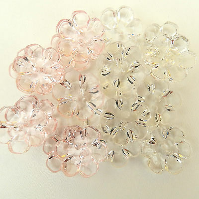 10 x pretty clear flower buttons - pink or clear 13mm,15mm 18mm or 22mm 2 holes