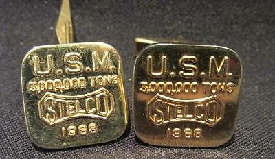 USM 3,000,000 Tons Stelco1968 Pair Gold Tone Cufflinks Signed Birks
