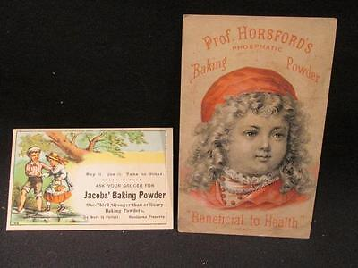 Prof Horsford's & Jacob's Baking Powder 2 Victorian Trade Cards