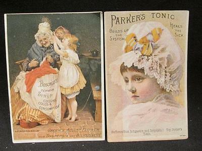 Parker Tonic & Boschees German Syrup 2 Victorian Trade Cards