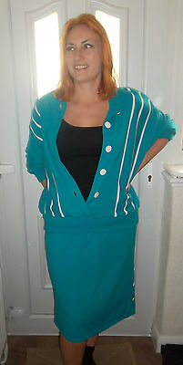 1970's Aqua St Michael Skirt & Jacket Twin Set With White Piping Lined 12 14 16