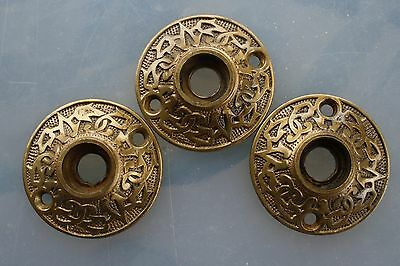 Vintage Salvaged Antique Victorian 3 Door Rosettes Brass Bronze Arabic Pattern