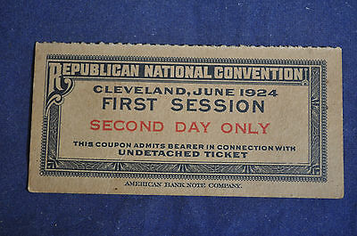 1924 Warren G Harding  (Calvin Coolidge) Republican Convention Ticket Stub