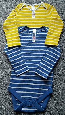 Mini Boden Baby Boys Striped 2 Pack long sleeve Bodies size 12-18 m . BRAND NEW