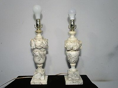 Antique Vintage Pair Table Lamp Marble