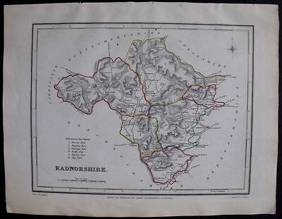 1845 ANTIQUE MAP: Radnorshire County, Wales, UK England. Outline Handcolored.