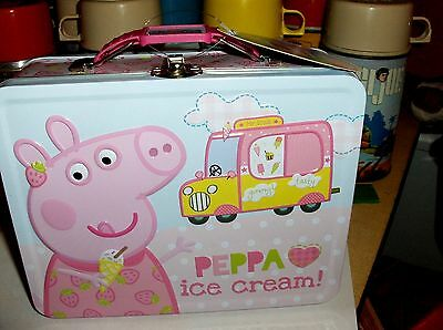 Peppa Ice Cream Pig`Metal Lunchbox`New With It's Tag->Tin Box Company>Free To US