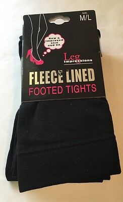 New Womens Medium Large Leg Impressions Footed Tights Fleece Lined BLACK