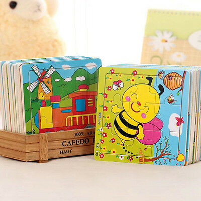 9Pcs Set Fashion Cartoon Animals Wooden Puzzle Jigsaw Kids Development Toy Gift