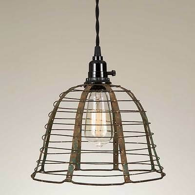 Primitive new disressed woven wire pendant hanging light / plug in light