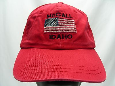 Mccall - Idaho - Red - Embroidered - Adjustable Strapback Ball Cap Hat!