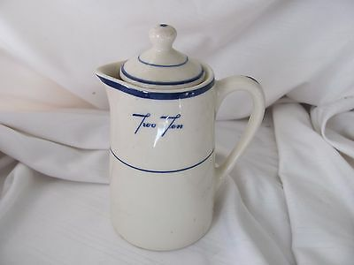 Shenango China blue rims pitcher with lid creamer mini coffee pot Two Ten