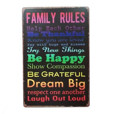 FAMILY RULES Vintage Metal Tin Sign Plaque Poster Bar Culb Wall Home Decor