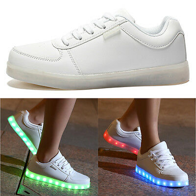 Unisex 7 LED Light USB Lace Up Sneaker Sportswear Luminous Casual Shoes 36 White