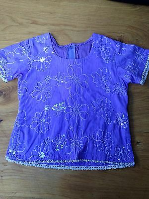 Purple Sequin Sari Top Embroidered Pearl Lace Trim Girl Sz Age 4-5-6 Yrs <L2072