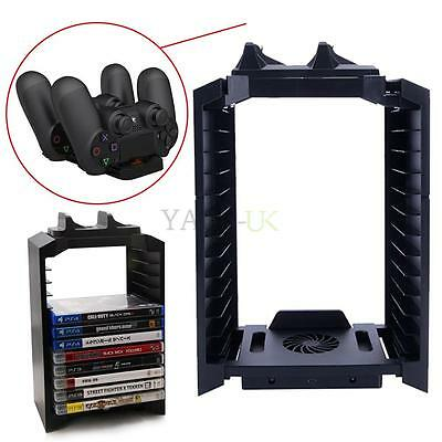 Console Vertical Stand Cooling Fan Game Storage Tower for PS4 PS3 / PS Move