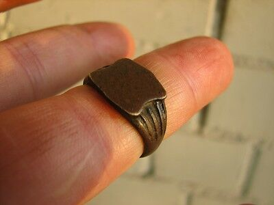 Very Nice Bronze Medieval Ring With Ornament #4995