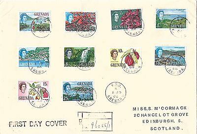 GRENADA : 1966 Definitive values - 1c to 25c values on FDC - good condition
