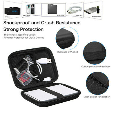 Hard Pouch EVA PU Carrying Case Bag for 2.5 inch External Hard Drive Portable