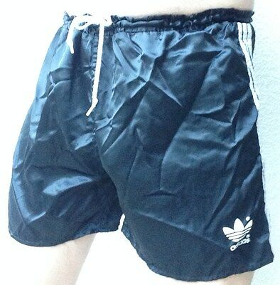 "Vintage Black & White Shiny Glanz Nylon Adidas Shorts - Size 38"" / D8 / Xl"