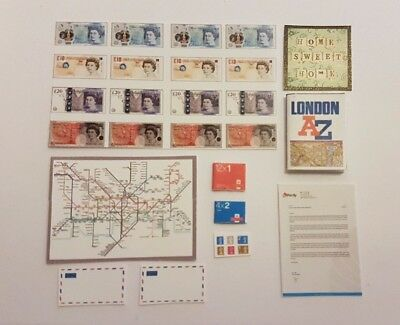 Modern letters stamps maps money stationary for a 1:12 scale dollshouse KIT UK