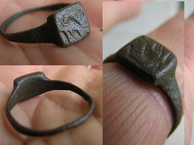 Very Nice Bronze Viking  Solid Ring With Ornament  - Bird ? #5019