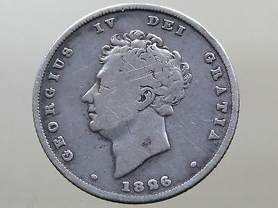 1826 George IV Sterling Silver Shilling - Good Condition - FREE POSTAGE (E162)