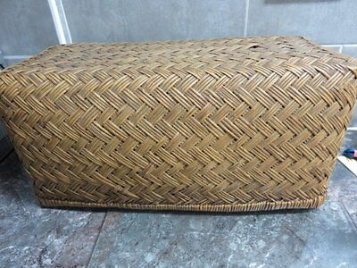 Victorian Woven Straw Wicker Lidded Basket / Case.
